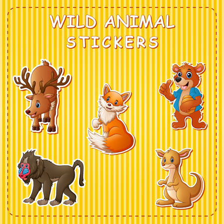 Cute wild animals cartoon on sticker
