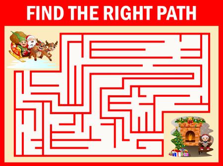 Les jeux Maze Santa Claus trouvent leur chemin vers la cheminée Vecteurs