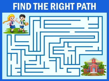 Il gioco del labirinto trova il modo in cui lo studente arriva a scuola Vettoriali