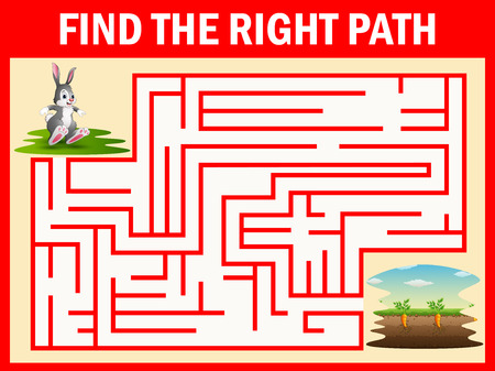 Maze game finds the rabbit way get to the carrot