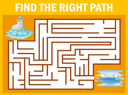 Maze game find sea lion walk away to pole Stock Illustratie