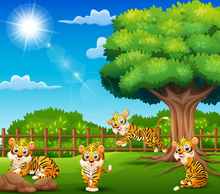 Tiger cartoon are enjoying nature by the cage