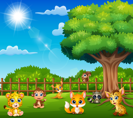 Little animals are enjoying nature by the cage Illustration