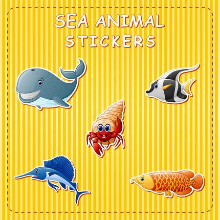 Animales marinos de dibujos animados lindo en la etiqueta engomada