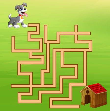 Game dog maze find way to the dog food container 矢量图像