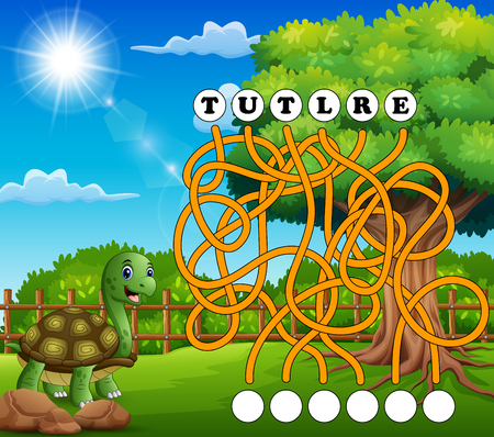 Game turtle maze find way to the word