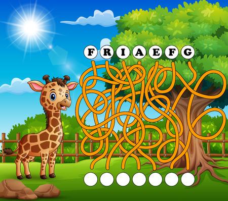 Game giraffe maze find way to the word
