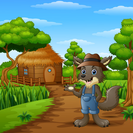 Wolf alone in the village Stock Photo