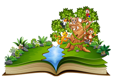 Open book with animals cartoon on the trees Stock Photo