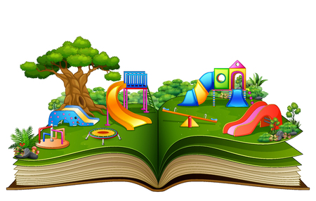 Open book with playground on a white background Reklamní fotografie - 107091163