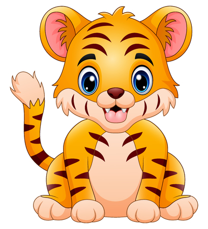 The little tiger feeling happy Stock Photo