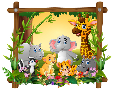 Happy wild animals in frame forest Banco de Imagens - 107091557