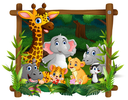 Happy wild animals in frame forest Banco de Imagens - 107091561