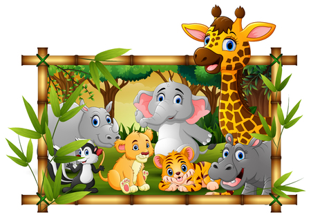 Happy wild animals in frame forest Banco de Imagens - 107091564