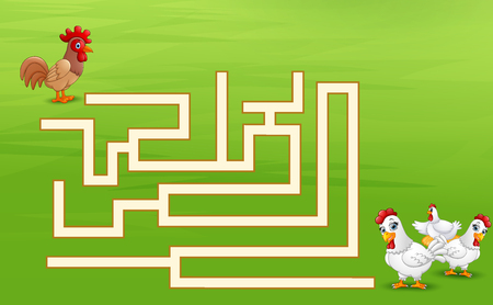 Game rooster maze find their way to the hen