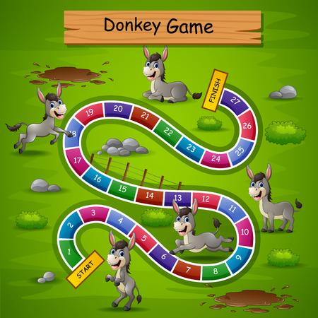 Juego de serpientes y escaleras con tema de burros.