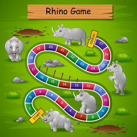 Vector illustration of Snakes ladders game rhinos theme