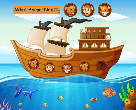 Vector illustration of Wood boat sailing with wild animals theme