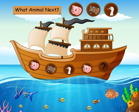 Vector illustration of Wood boat sailing with farm animals theme