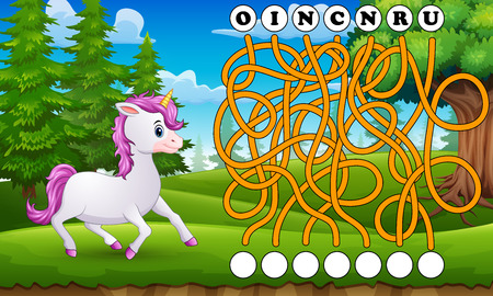Game unicorn maze find way to the word Reklamní fotografie - 107585323