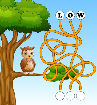 Game owl maze find way to the word Banco de Imagens