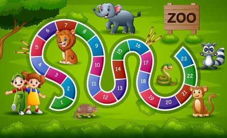 Tema del zoológico del juego de serpientes y escaleras.