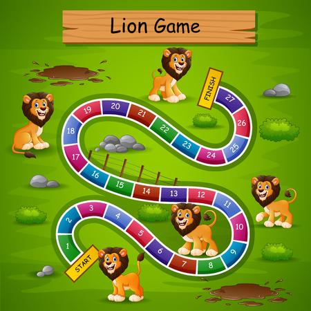 Juego de serpientes y escaleras con tema de león.