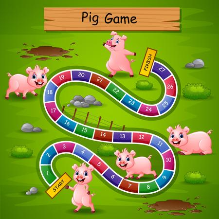 Juego de serpientes y escaleras con tema de cerdos.