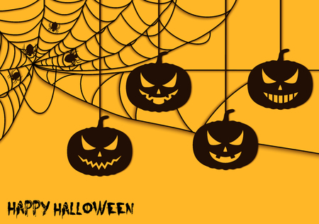 Happy Halloween spider net theme pumpkins silhouette Stock Illustratie