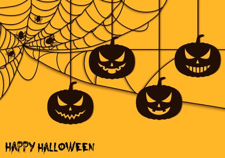 Happy Halloween spider net theme pumpkins silhouette Illustration