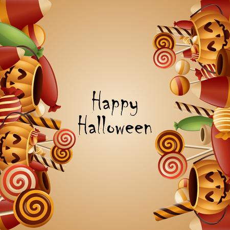 Happy halloween card pumpkins