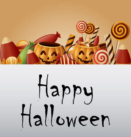 Halloween background pumpkins basket and collected candy