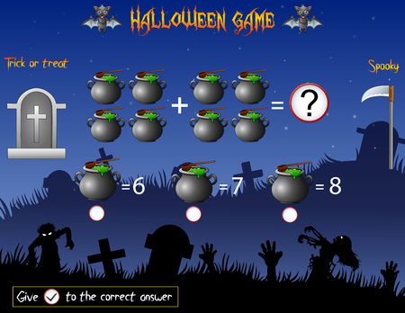 Game count the cauldron in the Halloween theme 일러스트