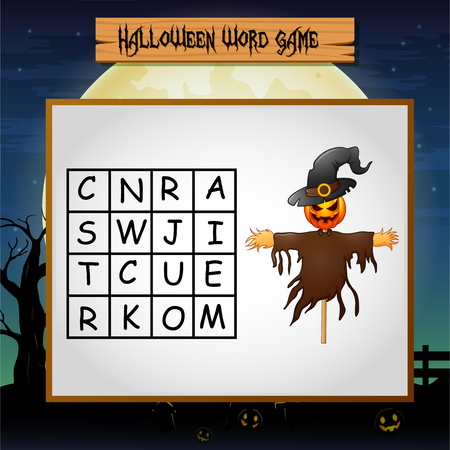 Game Halloween find the word of scarecrow