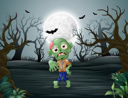 Zombie die terroriseert in het dode bos