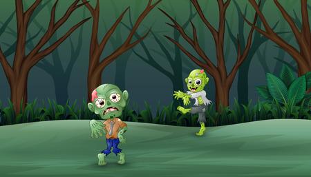Zombies Karikatur des Feierns von Halloween im Wald