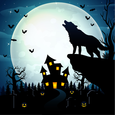 Wolves roar at the celebration of Halloween