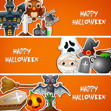 Happy Halloween banner with cute stickers Stockfoto