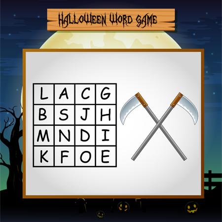 Game Halloween find the word of sickel