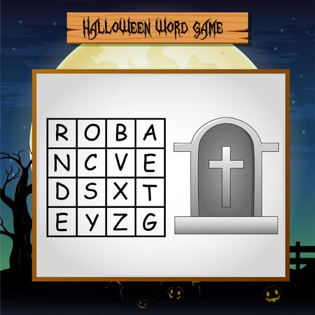 Jeu Halloween trouver le mot de la pierre tombale Vecteurs