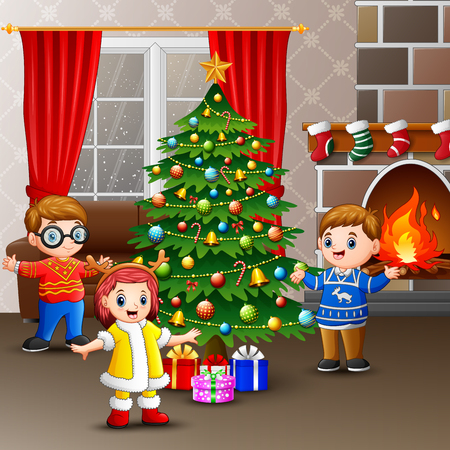 Happy kids celebrating christmas in the house Illustration