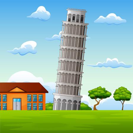 Illustration of landscape background with pisa tower