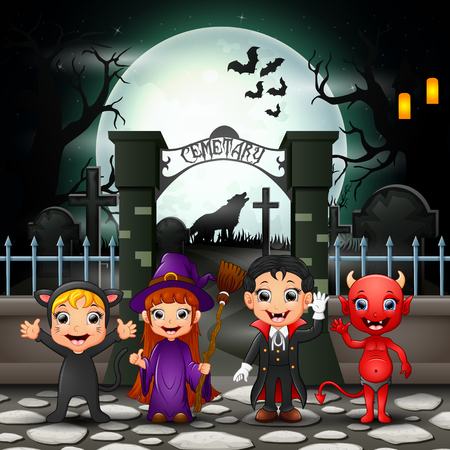 Cartoon happy kids with Halloween costume