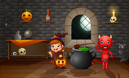 Happy cartoon witch and red devil