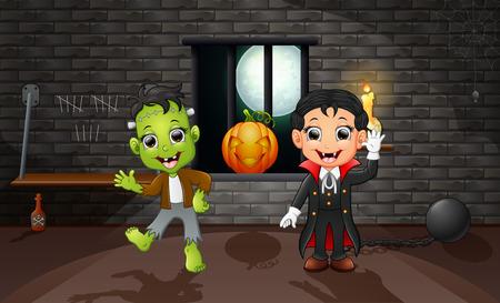 Cartoon of vampire and frankenstein