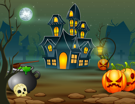 Halloween of scary house with pumpkin and green cauldron Stock Photo - 110208267