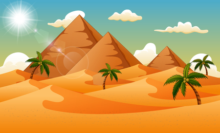 Desert background with pyramid and palm trees