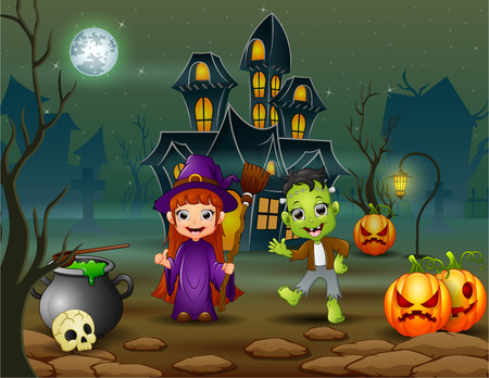 Happy halloween witch and frankestein in front of the house vector illustration Ilustración de vector