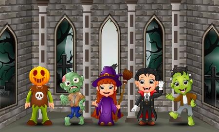 Niños felices de dibujos animados en la ilustración de vector de día de halloween