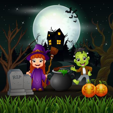 Feliz halloween bruja y vampiro en la ilustración de vector de noche Ilustración de vector